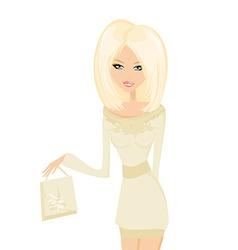 Cute sexy girl with shopping bag vector