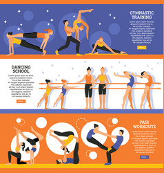 dance and gymnastic training banners set vector image