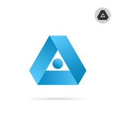 delta letter icon triangle shape in ribbon style vector image