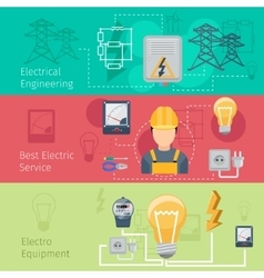 Electricity and power industry horizontal banners vector