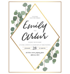 Floral design card with watercolor eucalyptus vector