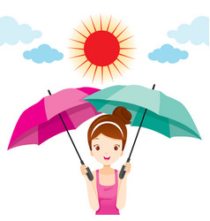 Girl holding two umbrellas with sun light vector
