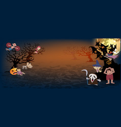 halloween backgroundspooky many character of vector image vector image