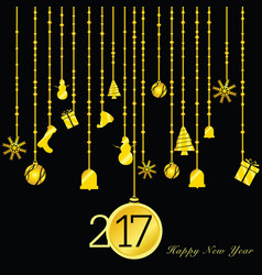 happy new year 2017 gold on black vector image