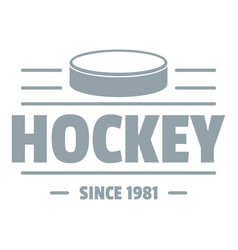 hockey logo simple gray style vector image vector image