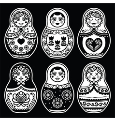 Matryoshka russian doll white icons set on black vector