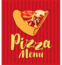 Menu with slice of pizza vector