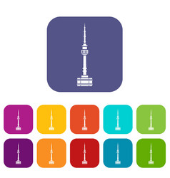Namsan tower in seoul icons set vector