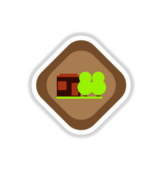 paper sticker on white background park house vector image