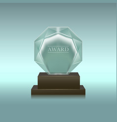 realistic glass or crystal prize circle shape vector image
