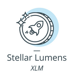 Stellar lumens cryptocurrency coin line icon of vector