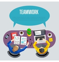 Teamwork concept Top view workspace background vector image vector image