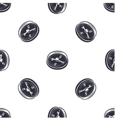 Vintage hand drawn compass seamless pattern vector
