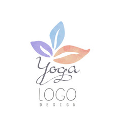 Watercolor logo template for yoga class or vector