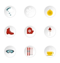 Weather winter icons set flat style vector