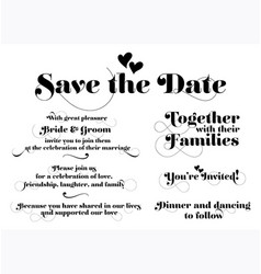 wedding invitation wording calligraphy vector image