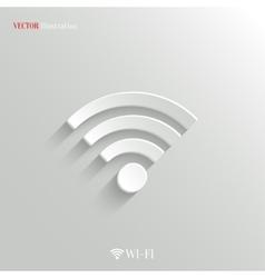 Wi-fi icon - white app button vector image vector image