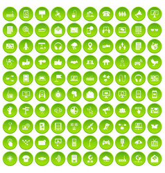 100 communication icons set green vector image vector image