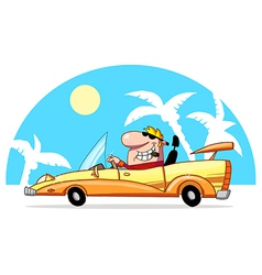 Blond guy driving a convertible in the tropics vector