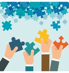Puzzle hand teamwork support design vector