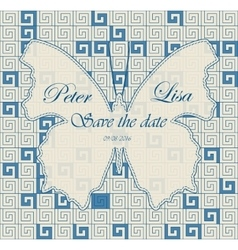 Wedding invitation greek pattern blue with vector image