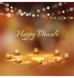 Happy diwali greeting card invitation indian vector