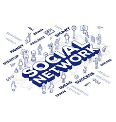 Three dimensional word social network wit vector
