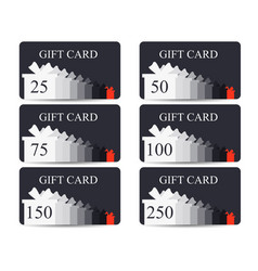 Gift card with a gift box in a flat style set vector