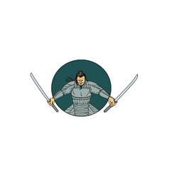 Samurai warrior wielding two swords oval drawing vector