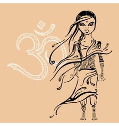 little indian girl Hand drawn vector image