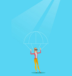 Young woman in vr headset flying with parachute vector