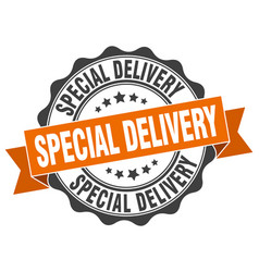 Special delivery stamp sign seal vector