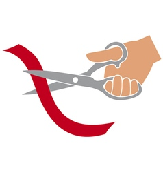 Hand cutting red ribbon with scissors vector