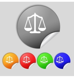 Scales of justice sign icon court law symbol set vector