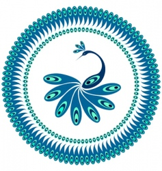 Peacock decorative pattern for plate vector