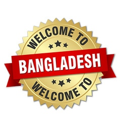 Bangladesh 3d gold badge with red ribbon vector