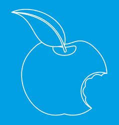 bitten apple icon outline style vector image vector image