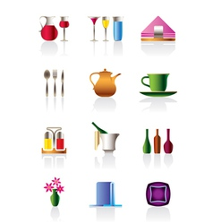 Cafe bar and restaurant icon set vector image vector image