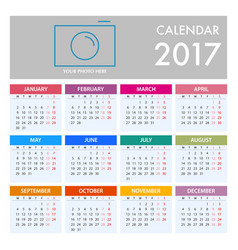 calendar for 2017 on white background week starts vector image