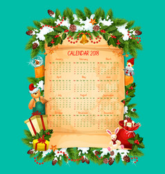 Christmas and new year calendar on paper scroll vector