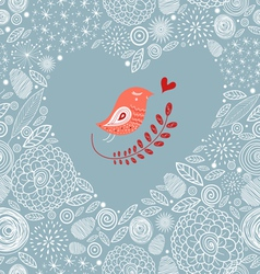 Decorative heart with a bird vector image vector image