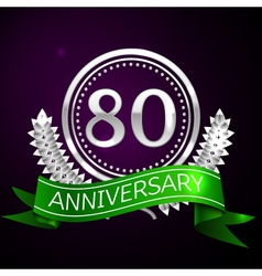 Eighty years anniversary celebration with silver vector image vector image