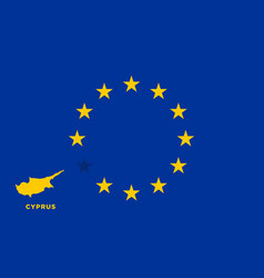 Eu flag with cyprus country european union vector