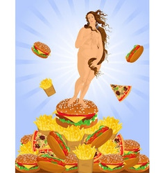 Fat woman and a heap of fast food vector