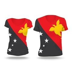 Flag shirt design of papua new guinea vector