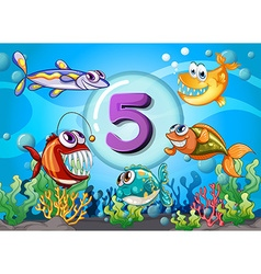 Flashcard number 5 with 5 fish underwater vector