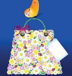 flower bag with butterfly vector image