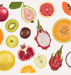 fresh juicy collection of fruits vector image vector image