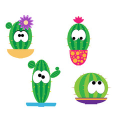 Funny cartoon cacti vector