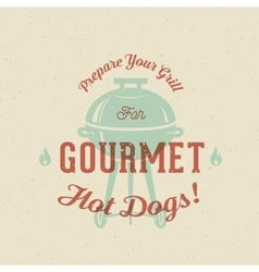 Gourmet grill hot dogs vintage card poster vector